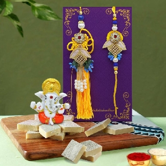 Designer Rakhi set with Kaju katli