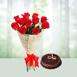 Flowers Bouquet of roses N Chocolate Cake