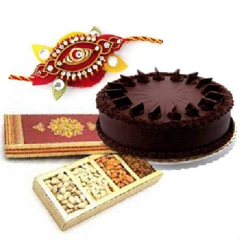 Rakhi with Cake and Dry Fruit