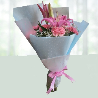 Luxury Pink Lily and Carnation Bouquet