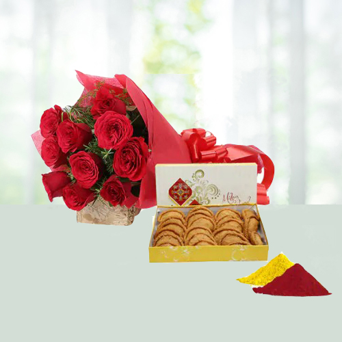 Holi Special Red Roses and Gujia Hamper