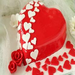 Valentine Red Heart Strawberry cake