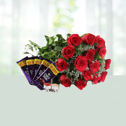 Holi Special red Roses and Diary milk Combo