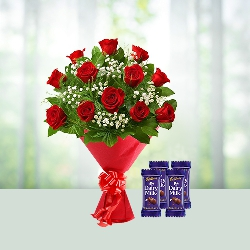 12 Red Roses Bouquet and 4 Dairy Milk Chocolates