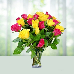 Pink n yellow roses in a vase