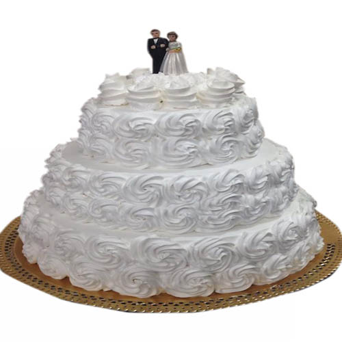 Three Tier White Rose Cake
