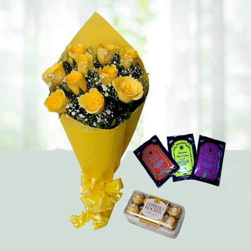 Holi Special yellow Roses N Ferrerorocher chocolate.