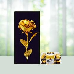 Golden Rose Ferrero Treat ( Courier Product  )