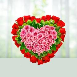 Lovable Heart Flowers Basket