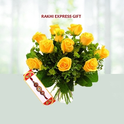 Rakhi With Yellow Roses