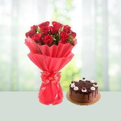 Red Roses N chocolate truffle cake
