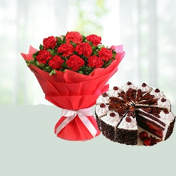 Bunch Of 10 Red Carnations With Half Kg Black Forest Cake