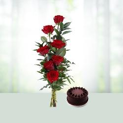 Roses N Cake Combo