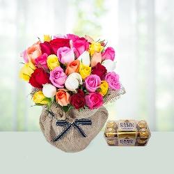 Roses with 16 Ferrero