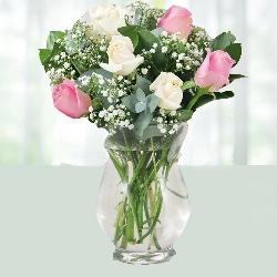 Roses and Million Star in Hurricane Vase