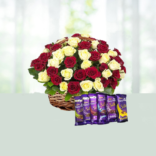 V Day- Bouquet of 45 Red and Yellow Roses with 6 Diary Milk Silk Chocolates
