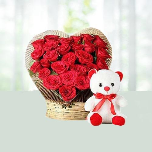 V Day-25 Heart Shape Red Roses Basket N 6 Teddy