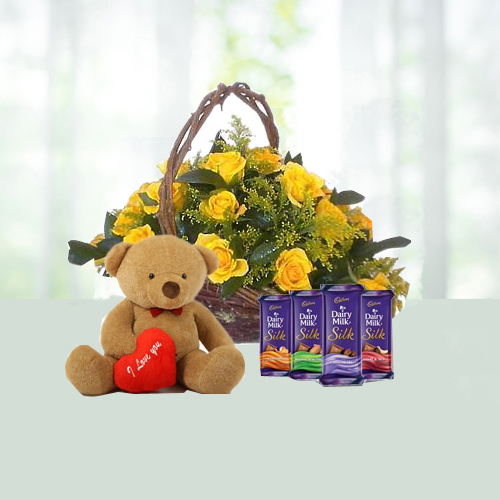 V Day- Basket of 15 Yellow Roses with 4 Dairy Milk Chocolates N Teddy
