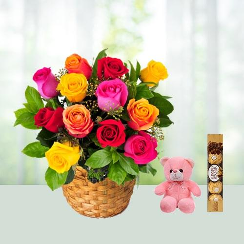 V Day - 12 Roses Basket