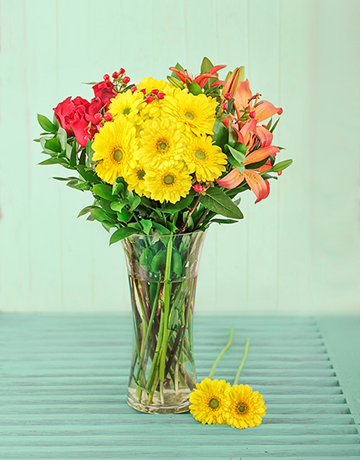 Roses Lilies and Gerbera Vase