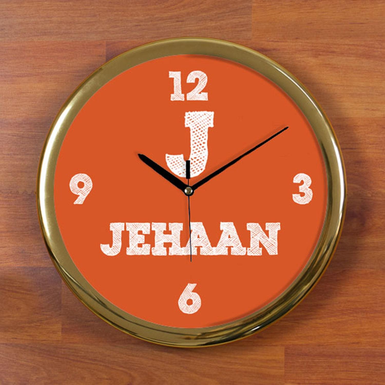Think orange Personalized Wall Clock - Round