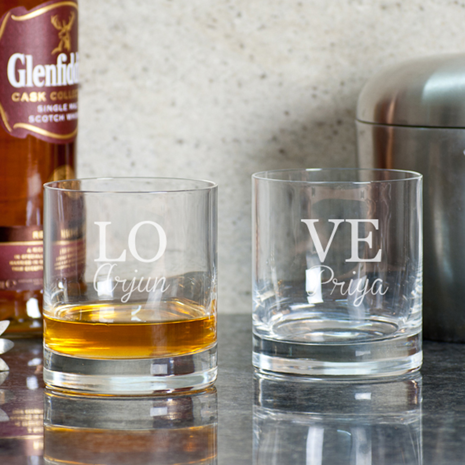 Love And Date Personalized Gift Whiskey Glasses