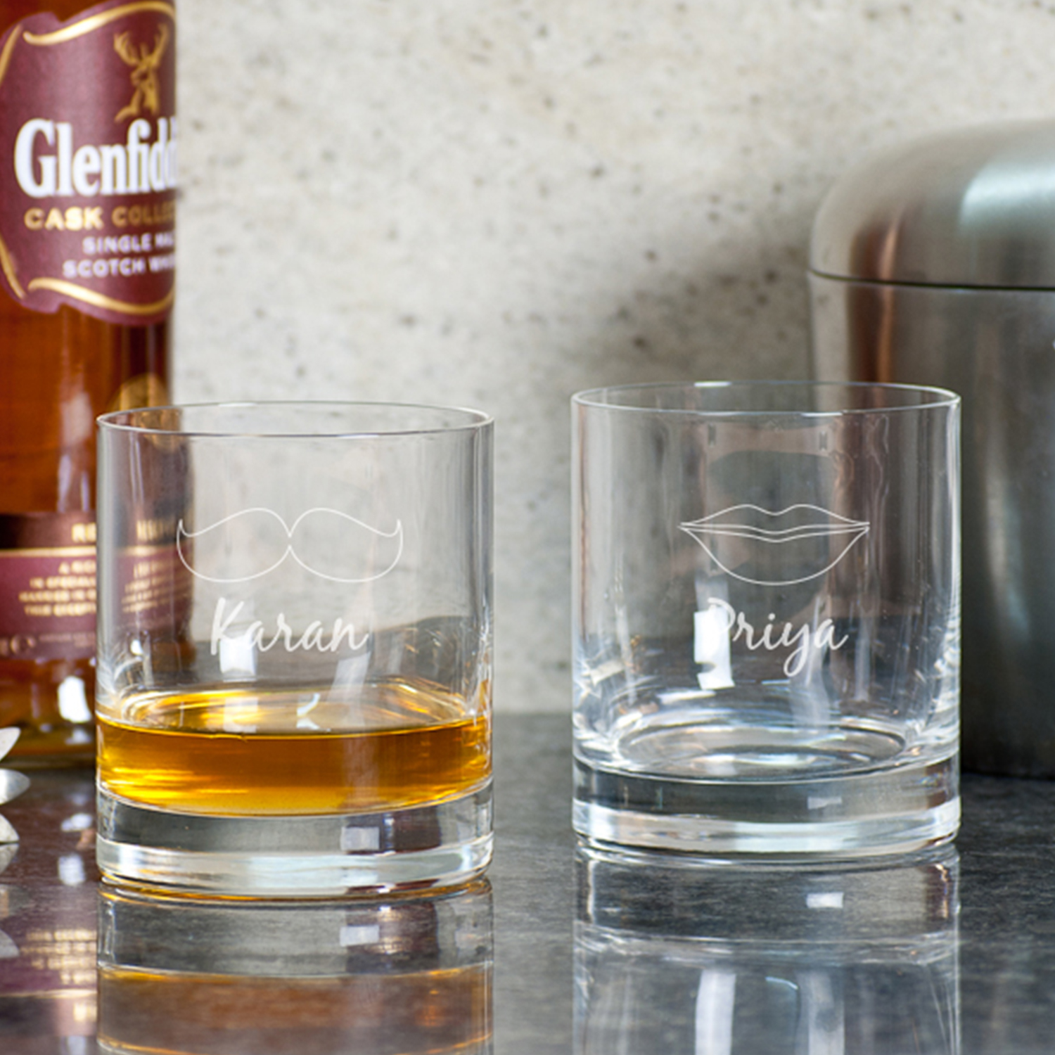 Cool couples Personalized Gift Whiskey Glasses