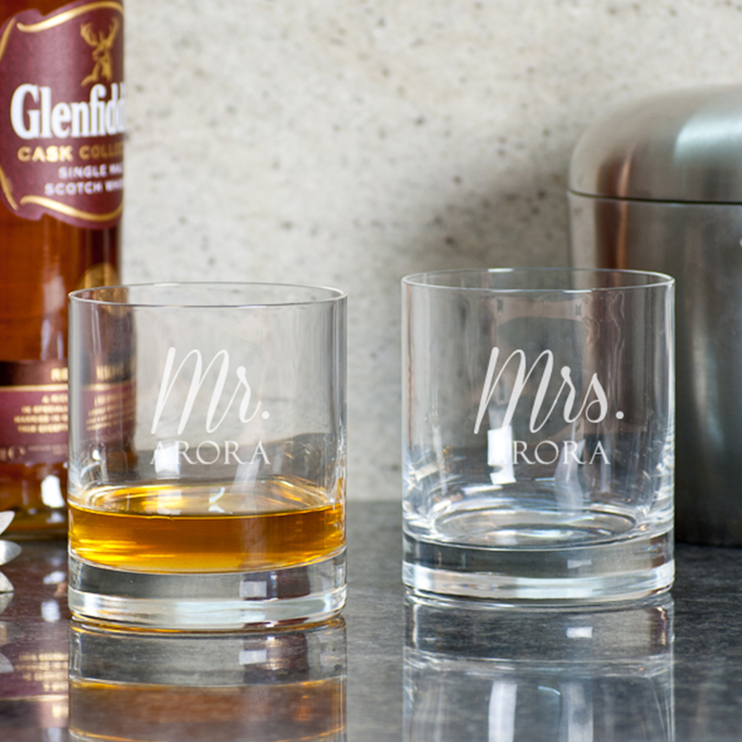 Mr And Mrs Personalized Gift Whiskey Glasses