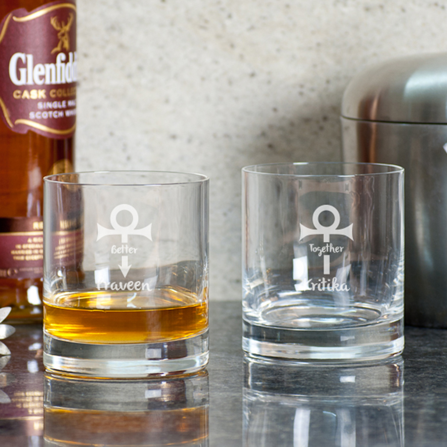 Together And Better Personalized Gift Whiskey Glasses