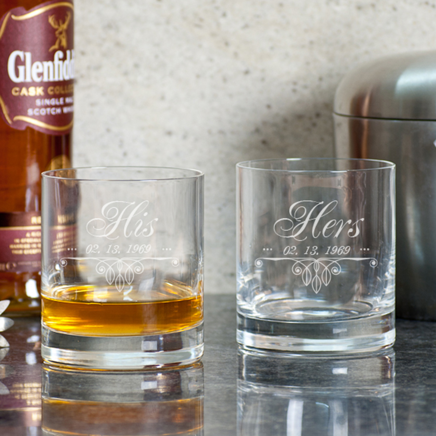 His and Her Personalized Gift Whiskey Glasses