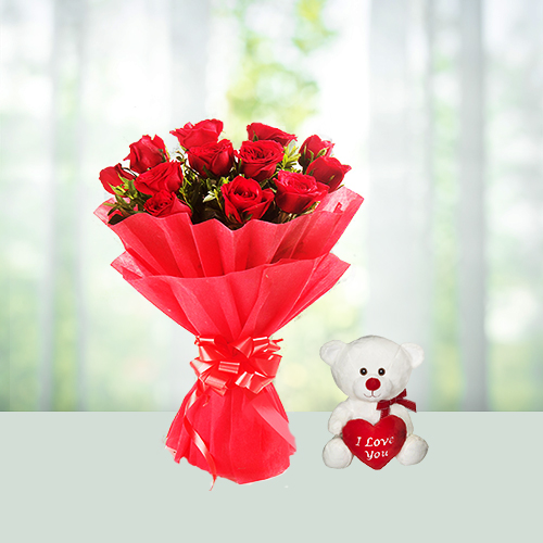 Bunch of 12 red roses and a cute 6 inch teddy