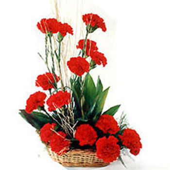 Red Carnations Flowers Basket
