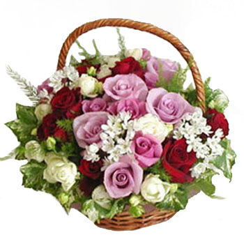 Pink n red rose basket