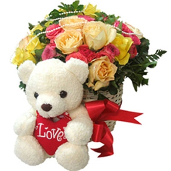 Mix roses Flowers Bouquet n teddy