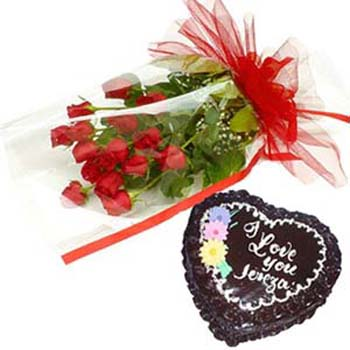 Red Roses and Chocolates Cake