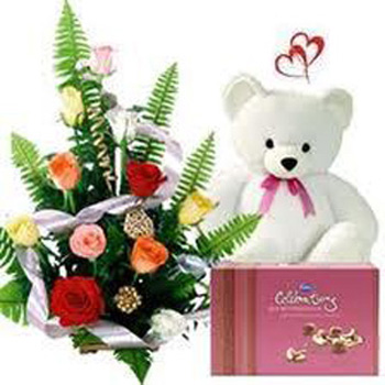 V Day - 12 Mix Roses Bakset N Small Cute Teddy