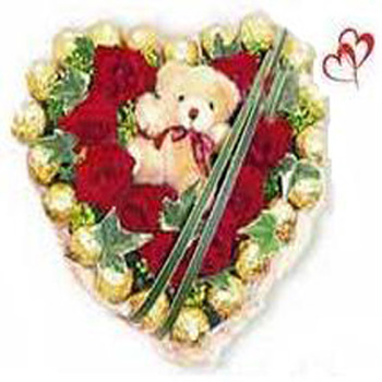 V Day - 12 Red Roses N 24 Pcs Ferrero Roucher N a Small Teddy