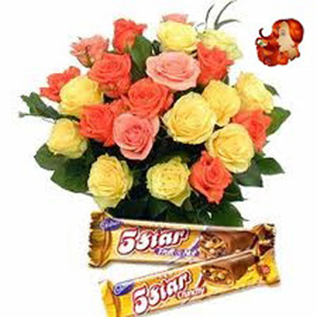 24 mix roses bouquet with 2 chocolates