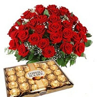 12 red roses and 24 PCS ferrero rocher