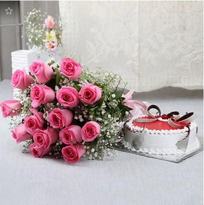 Strawberry Cake with Bunch of 15 Pink Roses