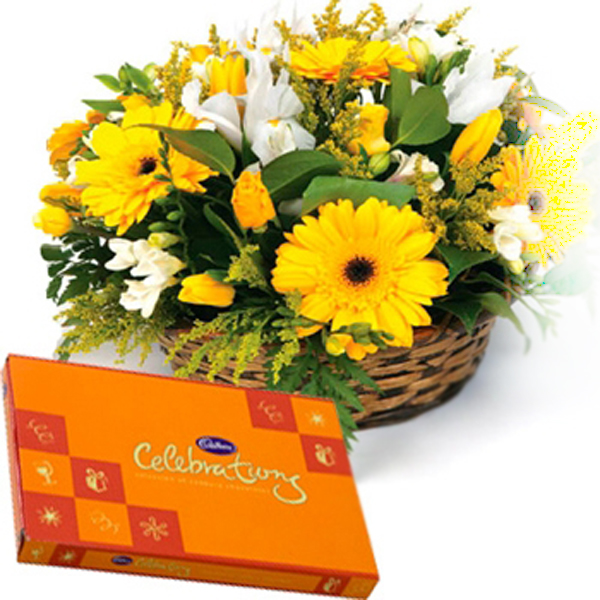 Send yellow flowers with chocolates flowers and chocolates online dv ham652222g mightylinksfo