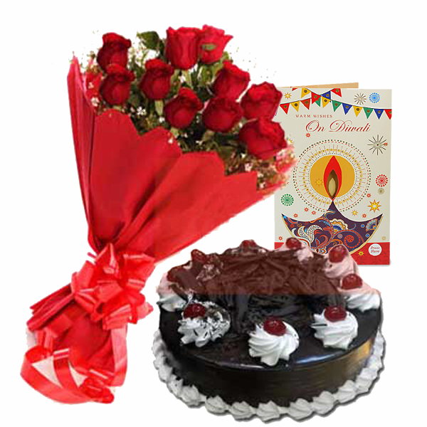 Diwali Wishes with Roses N Cake