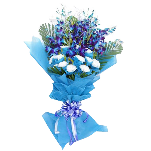 Send Flower Bouquet Of Carnation N Orchids Flowers Online | Flower ...
