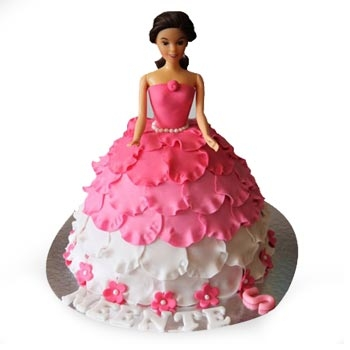 Send White N Pink Doll Cakes Online White N Pink Doll