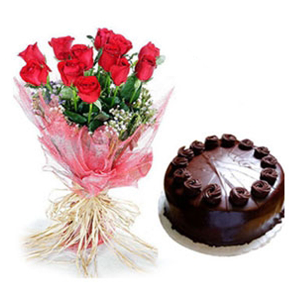 Send Roses And Choco Cake Flowers And Chocolates Online Roses And