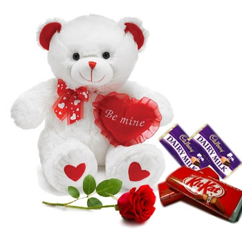 V Day - Chocolates N 6 Inch Teddy For Your Valentine