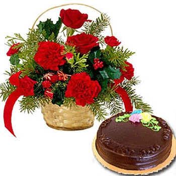 V Day- 12 Red Carnations Basket with Chocolate Cake
