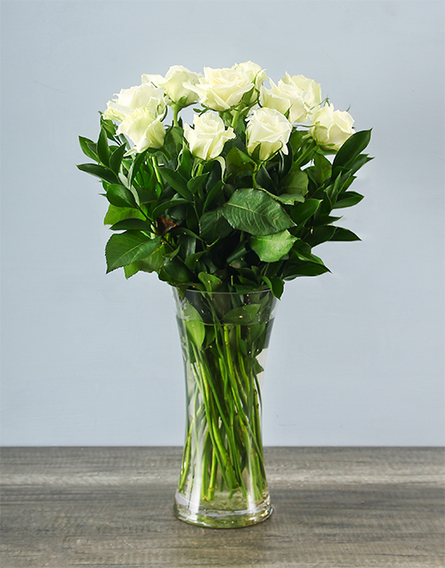Send White Roses In A Glass Vase Flowers Online White Roses In A
