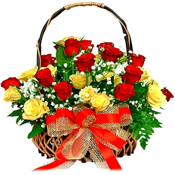 Send flowers basket of red and yellow roses flowers online flowers bangalore flowers 8 mix roses basketg mightylinksfo Image collections