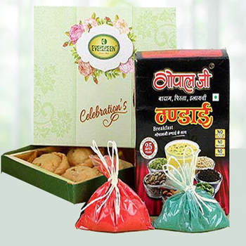 holim gifts to India with sweets and Thandai